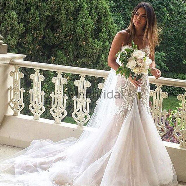 Gorgeous Beading Lace Sweetheart Strapless Mermaid Wedding Dresses, AB1520