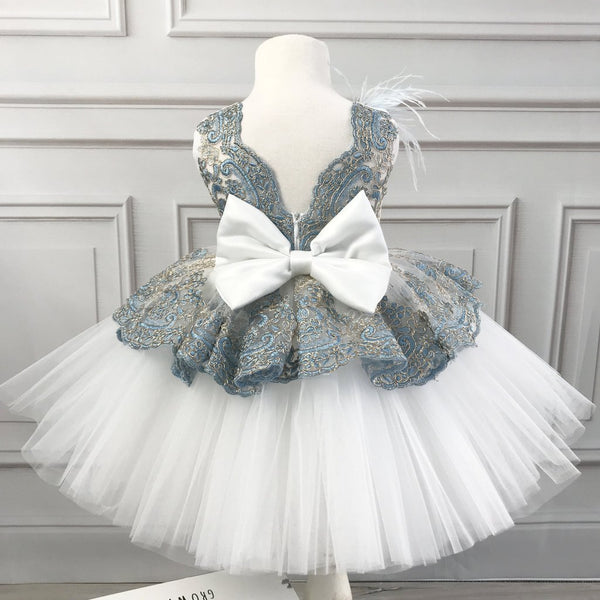 Gorgeous Gold And Dusty Blue Lace Ivory Tulle Satin Bow Knot Flower Girl Dresses, FGS103