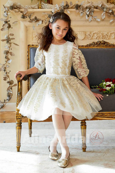 Gorgeous Gold Lace Organza Half Sleeve Cute Flower Girl Dresses, FGS087
