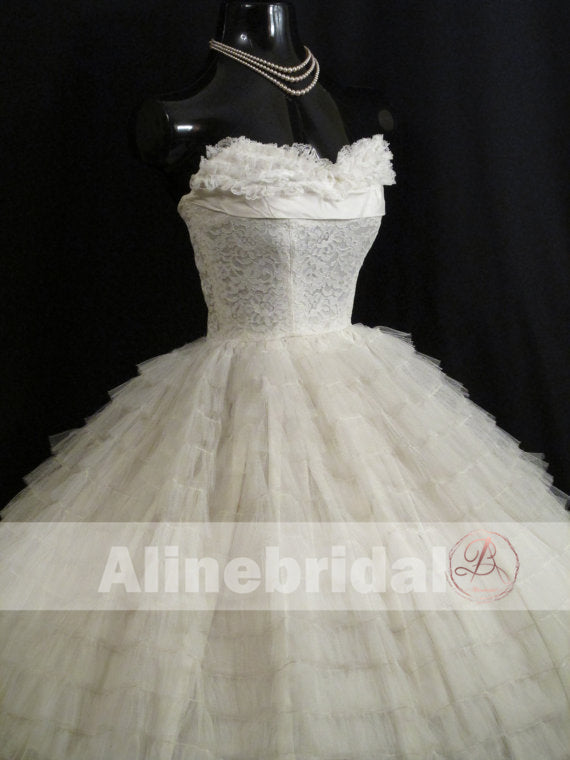Gorgeous Ivory Lace Pleating Tulle Sweetheart Strapless Homecoming Dresses, HD0005