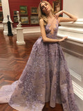 Gorgeous Lace Illusion Neck Deep V-neck Sleeveless Ball Gown Prom Gown Dresses,PD00051