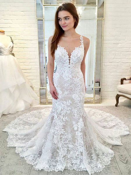 Gorgeous Lace Nude Lining Spaghetti Strap Mermaid Train Wedding Dresses, AB1563