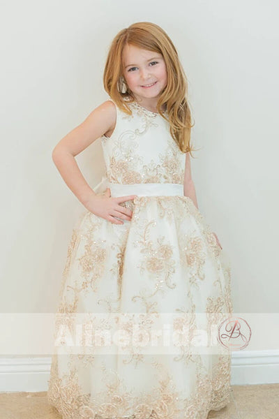 Gorgeous Lace With Sequins Sleeveless Long Flower Girl Dresses, FGS081