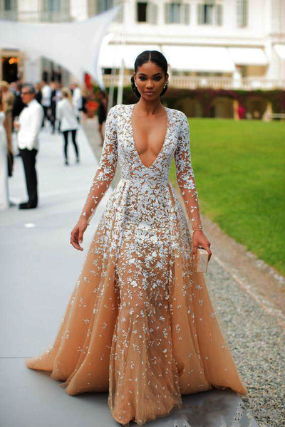 Gorgeous Nude Tulle Applique Long Sleeve Formal Prom Dresses,PD00143