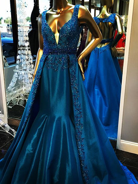 Gorgeous Royal Blue Beading Rhinestone Ball Gown Backless Formal Evening Party Prom Dresses,PD00031