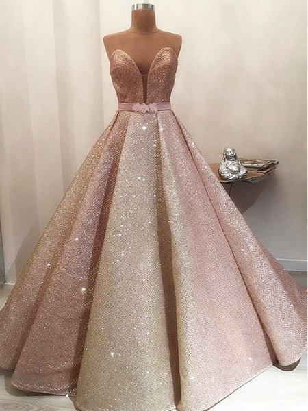 Gorgeous Shiny Rose Gold Satin Strapless