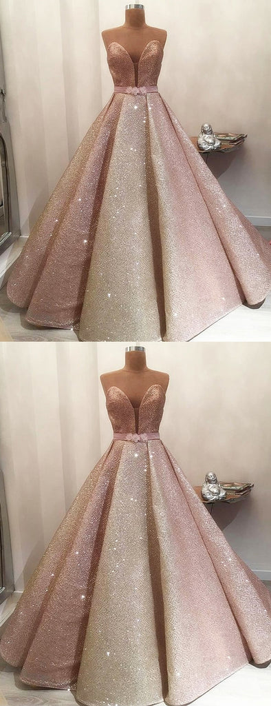 Gorgeous Shiny Rose Gold Satin Strapless Ball Gown Prom Dresses.PD00229