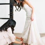 Gorgeous Strapless  Mermaid Ivory Lace With Train Wedding Party Dresses, WD0093