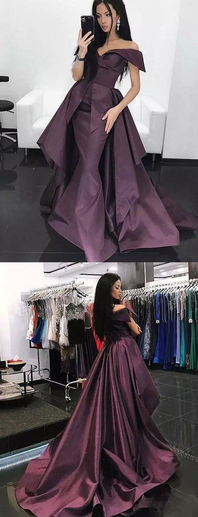 Grape Purple Off Shoulder Convertible Overskirt Prom Dresses ,PD00130