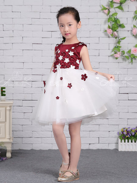 Grape Satin White Tulle Floral Applique Sweet Flower Girl Dresses, FGS133