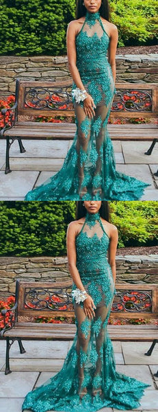 Green Lace Applique Sequin Illusion Tulle Halter Mermaid Prom Dresses.PD00220