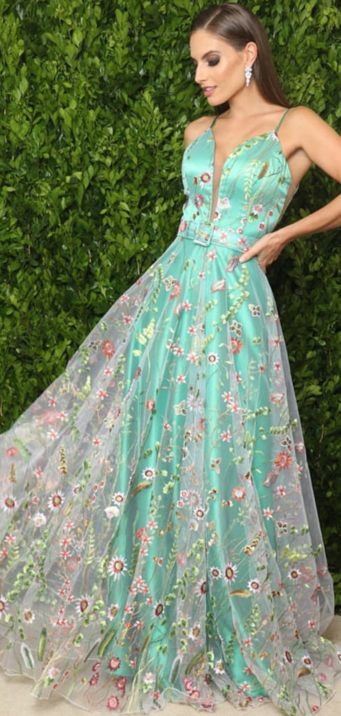 Green Satin Floral Embroidery Spaghetti Strap A-line Prom Dresses,PD00351