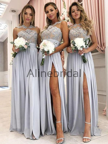 products Grey Jersey Lace Illusion High Neck Silt Long Bridesmaid Dresses AB4074-1.jpg 6a1b5c73c5c9