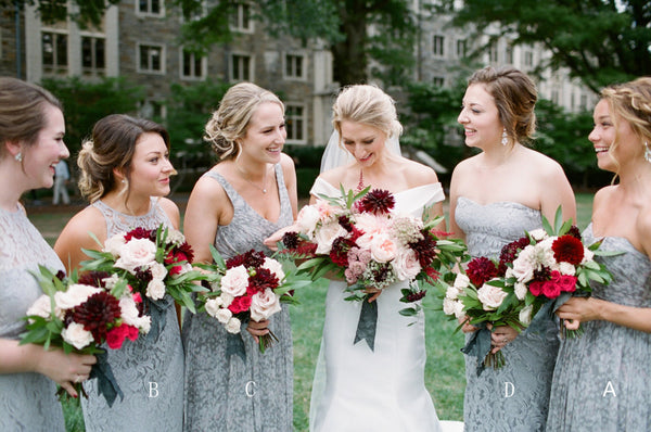 Grey Mismatched Sleeveless Chiffon Lace Elegant Long Bridesmaid Dresses , AB1218