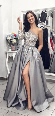 products/Grey_Satin_One_Shoulder_Applique_Long_Sleeve_Prom_Dresses_PD00144-2.jpg