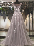 Grey Tulle Cap Sleeve Scoop Neck Appliques See-through  Prom Dresses,PD00069