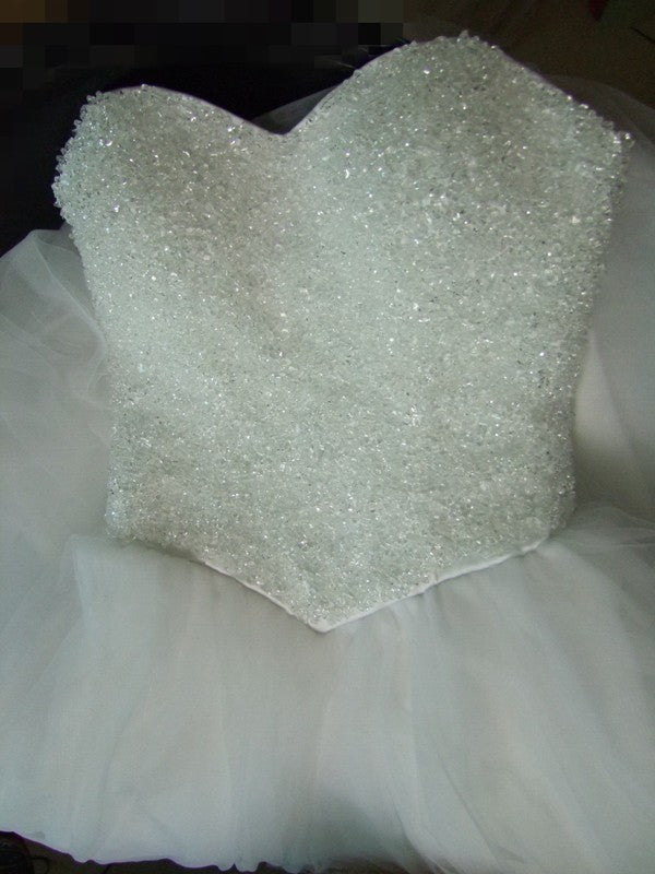 Cute Sweetheart A-line Strapless Beaded Tulle Ball Gown Wedding Party Dresses, WD0185