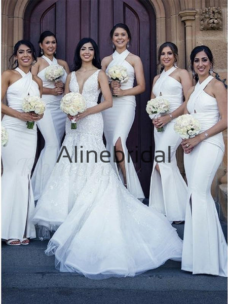 Halter White Mermaid Side Slit Long Formal Bridesmaid Dresses AB4219
