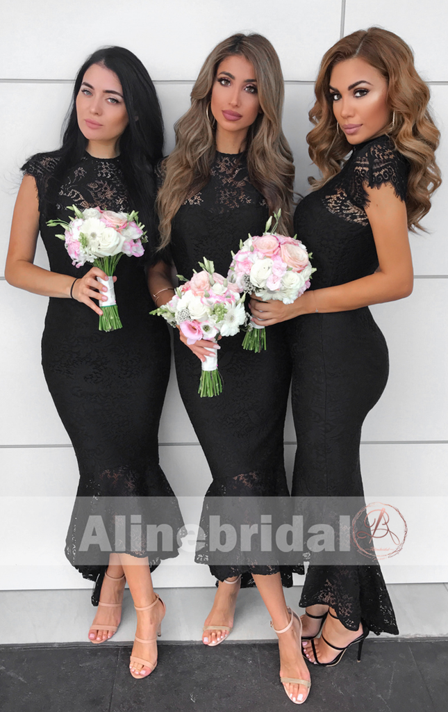 High Neck Cap Sleeve Lace Mermaid High Low Mismatched Bridesmaid Dresses . AB1209