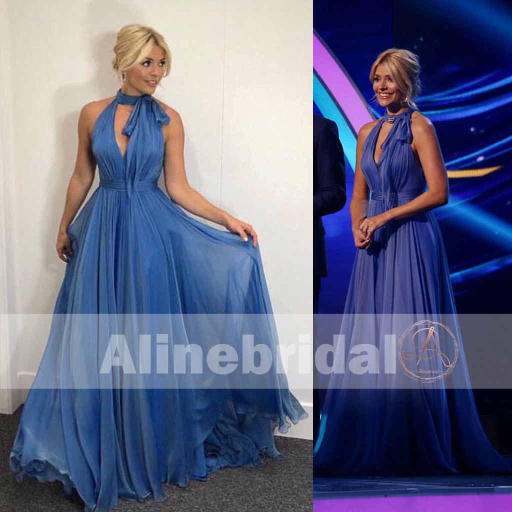 Holly Willoughby's Dancing On Ice Dress,Ice Blue Chiffon Halter Prom Dresses ,PD00094
