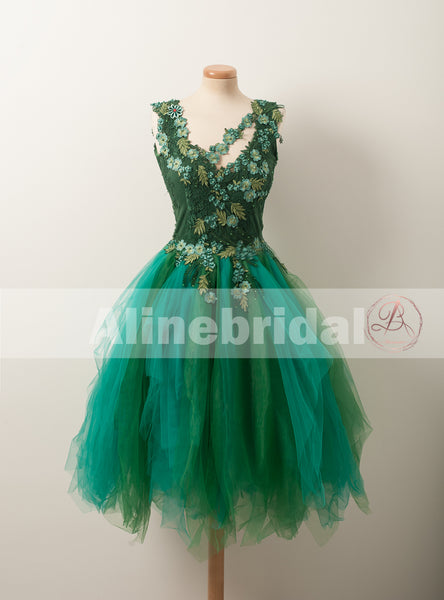 Hunter Green Lace Appliques Handmade Flowers Unique Homecoming Dresses,BD00231