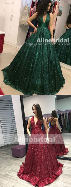 Hunter Green Sequin V-neck Criss-cross Sparkly Prom Dresses ,PD00109