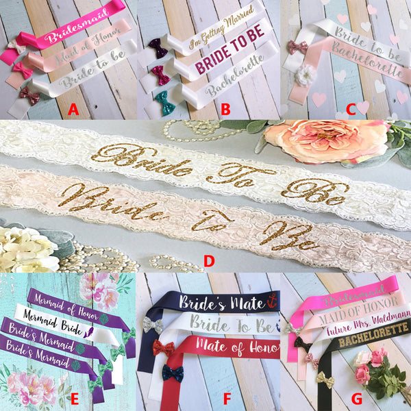 Simple Wedding Sash, Bride To Be Sash,Lace Sash,Different Color Sashes, Custom Printing Sash, SA0015