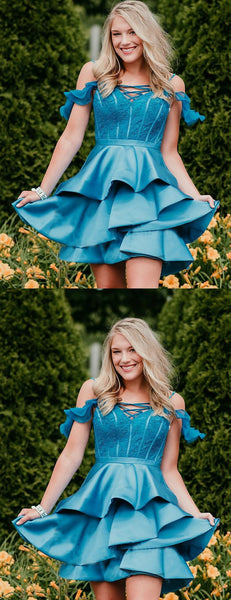 Ice Blue Off Shoudler Lace Satin Charming Homecoming Dresses,HD0036