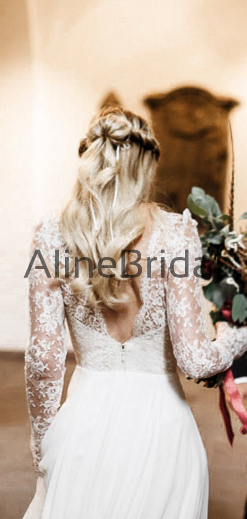 Illusion Lace Long Sleeve V-neck Chiffon A-line Beach Wedding Dresses, AB1573