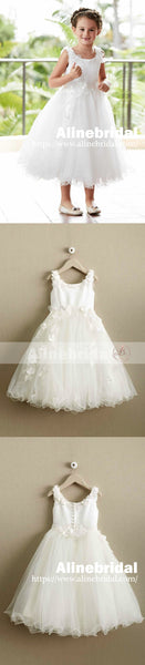 Ivory Applique Tulle Scoop Neck A-line Flower Girl Dresses, FGS097