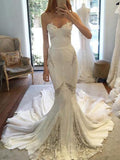 Ivory Chiffon Lace Sweetheart Strapless Mermaid Sexy Wedding Dresses, AB1564