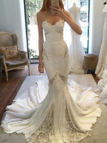 products/Ivory_Chiffon_Lace_Sweetheart_Strapless_Mermaid_Sexy_Wedding_Dresses_AB1564-1.jpg