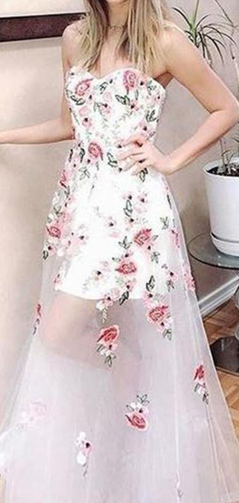 Ivory Floral Prints Sweetheart Strapless See Through Prom Dresses,PD00192