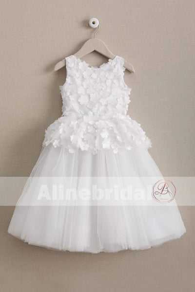 Ivory Handmade Flower Cute Round Neck Sleeveless Flower Girl Dresses, FGS066