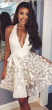 Ivory Lace Applique Illusion Halter Sexy Homecoming Dresses,HD0030