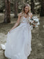 Ivory Lace Applique Tulle Sweetheart Strapless A-line Forest Wedding Dresses, AB1553
