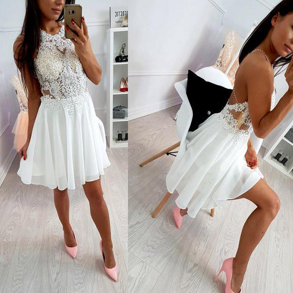 Ivory Lace Beaded Spaghetti Strap Criss-cross Chiffon Freshman Homecoming Dresses,BD00112