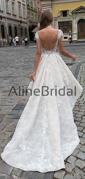 Ivory Lace Short Sleeve See Through Top High Low Fashion Wedding Dresses , AB1536