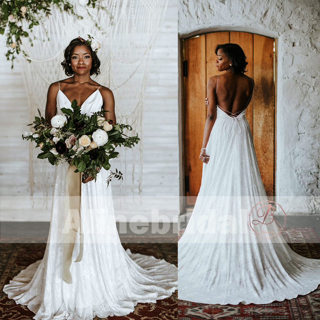 Ivory Lace Spaghetti Straps Lace Up Back A-line Boho Wedding Dresses, AB1156