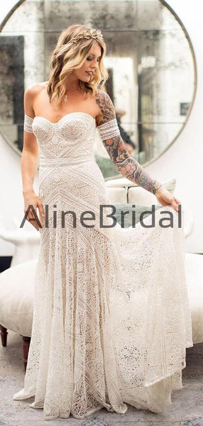 Ivory Lace Strapless Boho Beach Wedding Dresses, AB1530