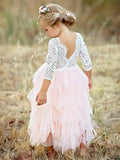 Ivory Lace Top Blush Pink Ruffle Tulle Half Sleeve Flower Girl Dresses, FGS116