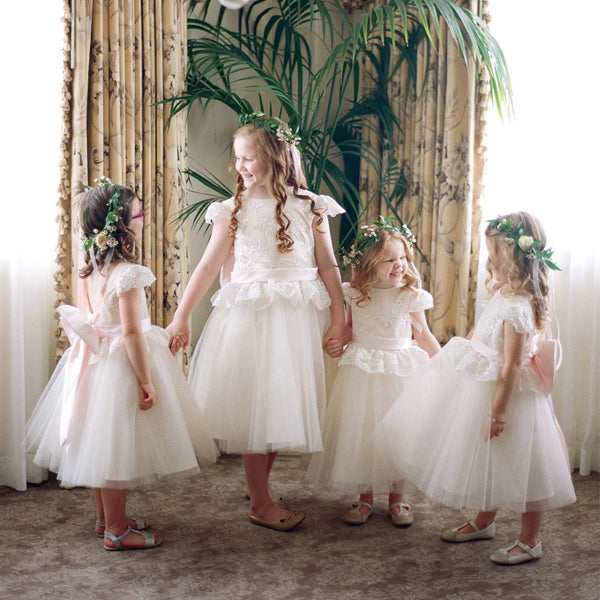 bb70481e7 FEATURED PRODUCTS. Your product's name. $200.00. Ivory Lace Tulle Cap  Sleeve Round Neck Scoop Back With Pink Bow Know Flower Girl Dresses