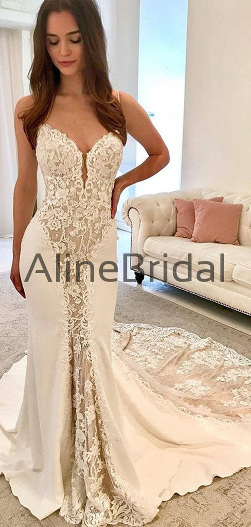 Ivory Satin Gorgeous Lace Spaghetti Strap With Nude Lining Vintage Wedding Dresses, AB1558