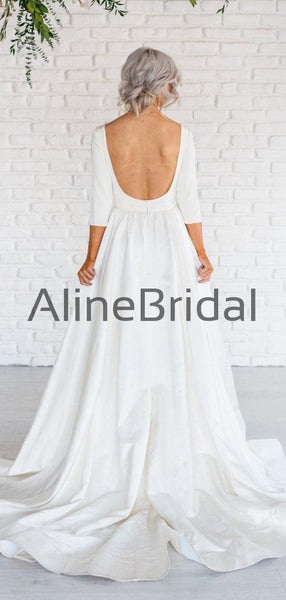 Ivory Satin Long Sleeve Scoop Back A-line Wedding Dresses, AB1548