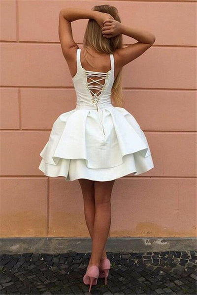 Ivory Satin Sleeveless Tiered Ball Gown Lace Up Back Simple Homecoming Dresses ,BD0078