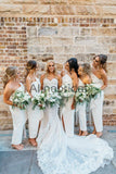 Ivory Silt Fashion Unique Strapless Ankle Length Sheath Bridesmaid Dresses , AB4033