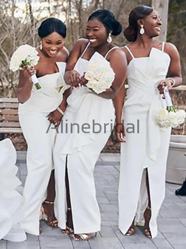 Ivory Spaghetti Strap Unique Sheath Front Silt Bridesmaid Dresses, AB4034