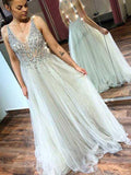Ivory Tulle Sequin Beads V-neck Backless Prom Dresses,PD00365