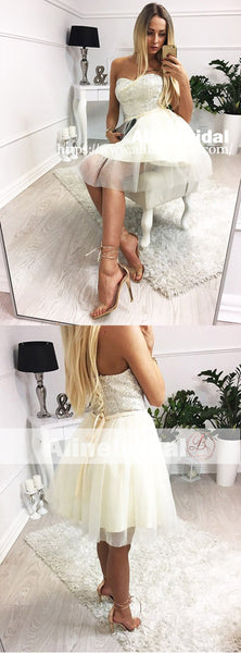 Ivory Tulle Silver Beads Sweetheart Strapless Homecoming Dresses,HD0008