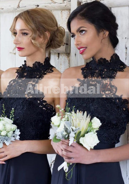 Lace Top High Neck Unique Bridesmaid Dresses With Side Split, AB1214